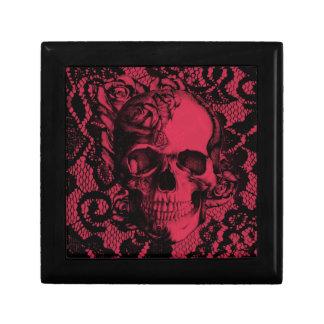 Borgoña y cráneo negro del cordón caja de regalo