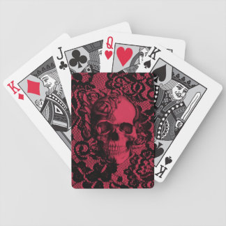 Borgoña y cráneo negro del cordón barajas de cartas