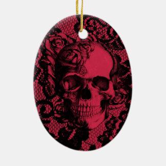 Borgoña y cráneo negro del cordón adornos de navidad