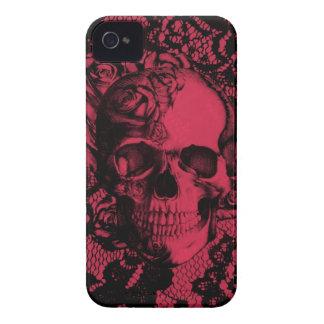 Borgoña y cráneo negro del cordón iPhone 4 protector