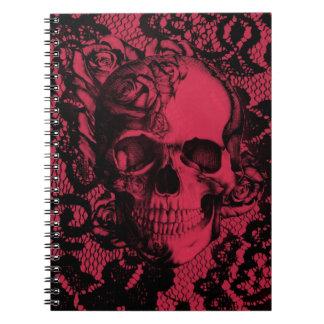 Borgoña y cráneo negro del cordón libreta