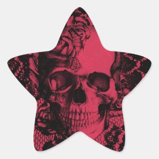 Borgoña y cráneo negro del cordón pegatina en forma de estrella