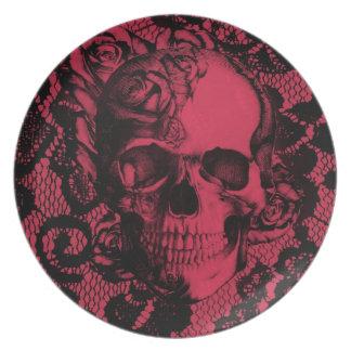 Borgoña y cráneo negro del cordón platos de comidas