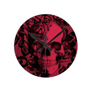 Borgoña y cráneo negro del cordón reloj