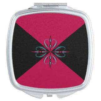 Borgoña y espejo compacto negro de Edwardian