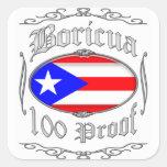 Boricua 100 Proof2 Calcomanía Cuadradase