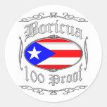 Boricua 100 Proof2 Pegatina Redonda