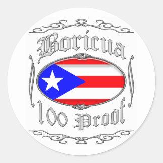 Boricua 100 Proof2 Classic Round Sticker