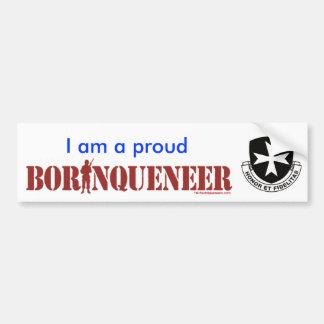 Borinqueneer orgulloso - pegatina para el parachoq etiqueta de parachoque