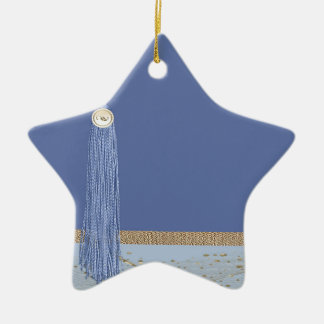 Borla azul, acento de la hoja, oro abstracto, azul adorno navideño de cerámica en forma de estrella