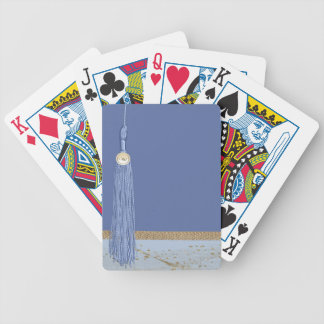 Borla azul, acento de la hoja, oro abstracto, azul barajas de cartas