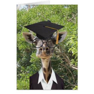 Borla graduada del oro de la jirafa tarjeta de felicitación