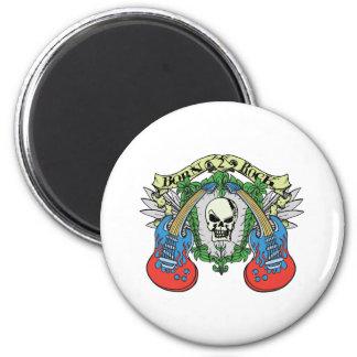 Born 2 Rock Skull 2 Inch Round Magnet
