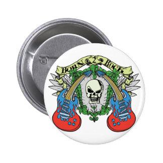 Born 2 Rock Skull Button