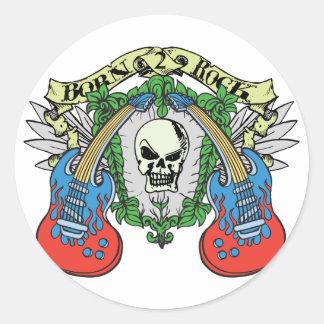 Born 2 Rock Skull Classic Round Sticker
