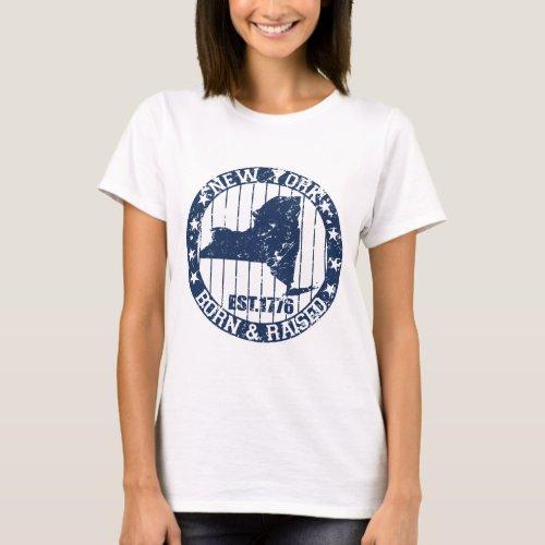 born and raised new york dark blue T_Shirt
