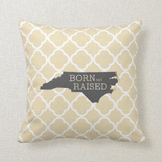 Born and Raised North Carolina Throw Pillow