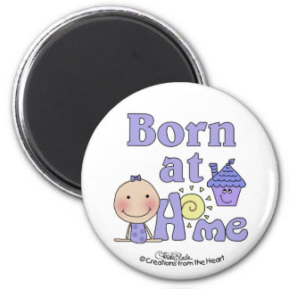 Born At Home-Stick Figure Girl in Purple Magnet