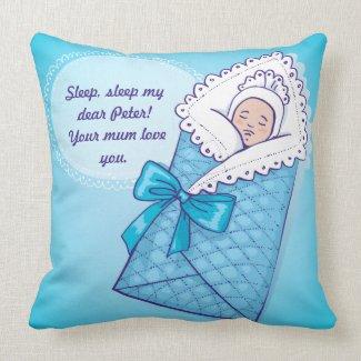 Born Baby Boy Sleeping American MoJo Pillows