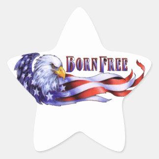 Born Free Bald Eagle And USA Flag Star Sticker