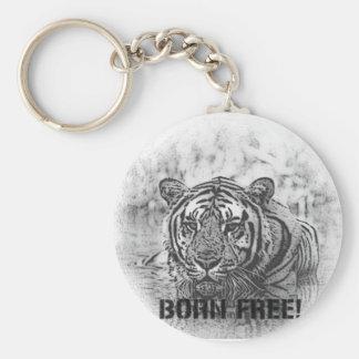 BORN FREE!  TIGER - BLACK / WHITE KEYCHAIN
