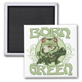 Born Green Enviro Frog by Mudge Studios 2 Inch Square Magnet