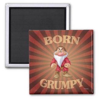 Born Grumpy 2 Inch Square Magnet