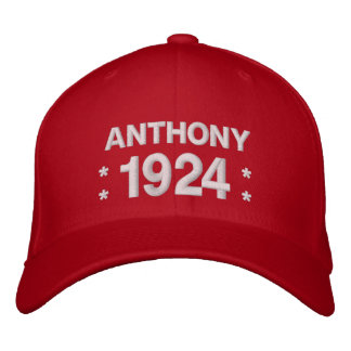 Born in 1924 or Any Year 90th Birthday V5S RED Embroidered Baseball Cap