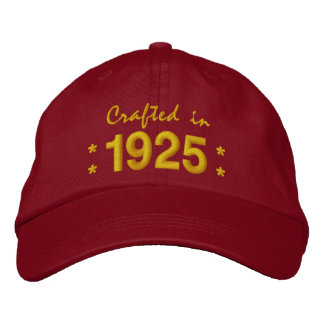 Born in 1925 or Any Year 90th Birthday V03 RED Embroidered Hats