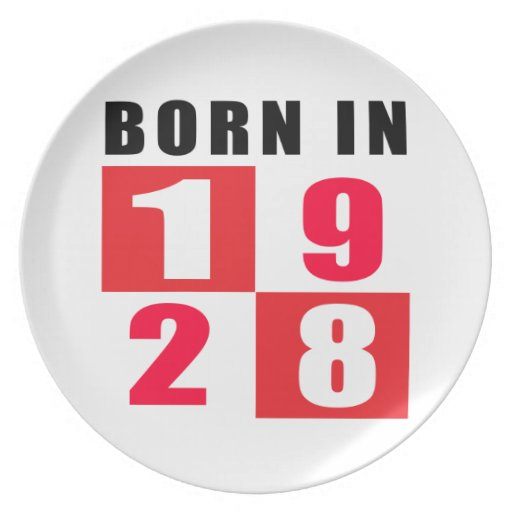 Born In 1928 Birthday Designs Party Plate