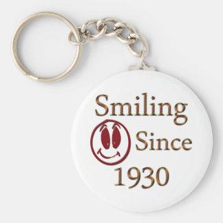 Born in 1930 basic round button keychain