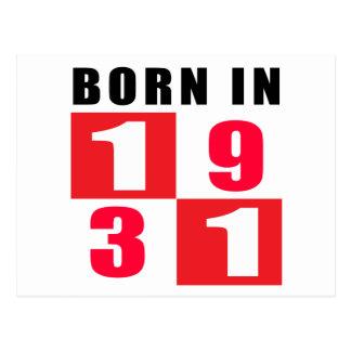 Born In 1931 Birthday Designs Postcard
