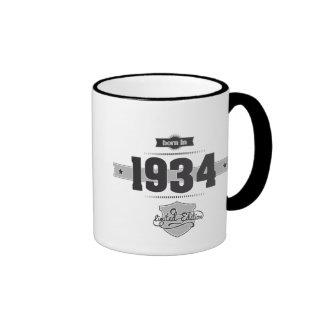 Born in 1934 (Dark&Lightgrey) Ringer Coffee Mug