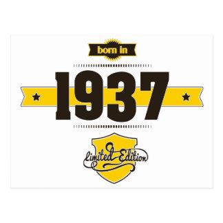 born in 1937 (choco&yellow) postcard
