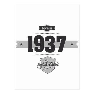 Born in 1937 (Dark&Lightgrey) Postcard
