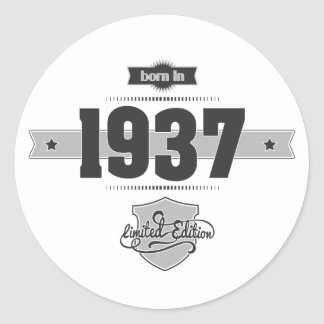 Born in 1937 (Dark&Lightgrey) Classic Round Sticker