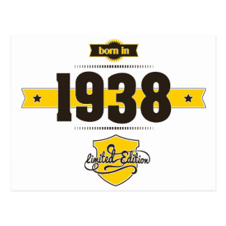 born in 1938 (choco&yellow) postcard