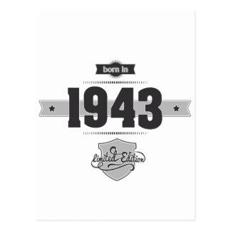 Born in 1943 (Dark&Lightgrey) Postcard