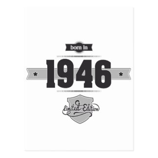 Born in 1946 (Dark&Lightgrey) Postcard