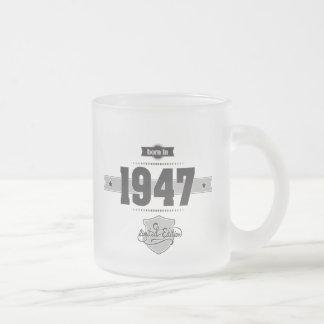 Born in 1947 (Dark&Lightgrey) Frosted Glass Coffee Mug