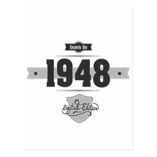 Born in 1948 (Dark&Lightgrey) Postcard