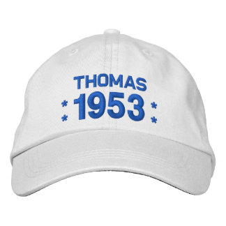 Born in 1953 or Any Year 65th Birthday W04C WHITE Embroidered Baseball Cap