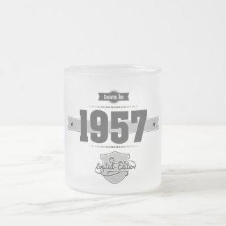 Born in 1957 (Dark&Lightgrey) Frosted Glass Coffee Mug