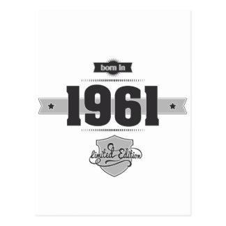 Born in 1961 (Dark&Lightgrey) Postcard