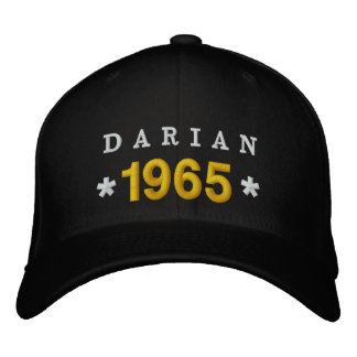 Born in 1965 or Any Year 50th Birthday V03A BLACK Embroidered Hat