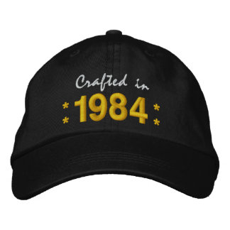 Born in 1984 or Any Year 30th Birthday V02S BLACK Embroidered Hat