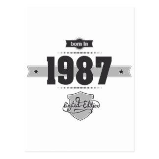 Born in 1987 Dark Lightgrey Post Cards