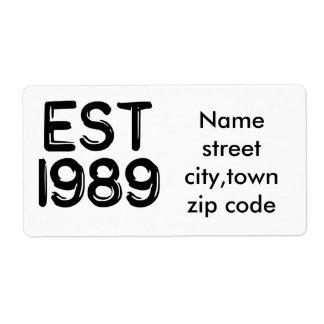 Born in 1989 est 1989 custom shipping labels