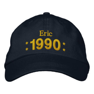 Born in 1990 or Any Year 25th Birthday W01G NAVY Embroidered Hats