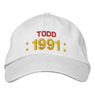 Born in 1991 or Any Year 25th Birthday W02G WHITE Embroidered Hat